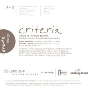 Criteria. A+D Gallery